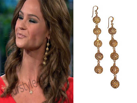 Real Housewives of Orange County, RHOC, Vickie Gunvalson, Jimmy Choo, heels, #RHOC, #RealHousewivesOrangeCounty, Season 10, Reunion, Meghan Edmonds, Megan Edmonds, Meagan, gold ball earrings, gold drop earrings, worn on tv, tv fashion, clothes from tv shows, Real Housewives of Orange County outfits, bravo, reality tv clothes