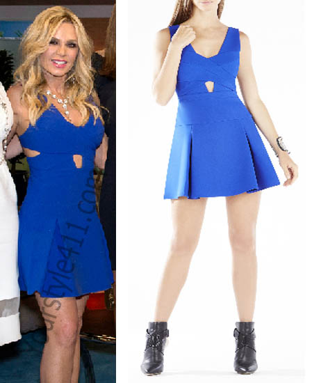 Real Housewives of Orange County, RHOC, Tamra Judge, #RHOC, #RealHousewivesOrangeCounty, Season 10, Reunion, blue dress, blue cutout dress, bebe, worn on tv, tv fashion, clothes from tv shows, Real Housewives of Orange County outfits, bravo, reality tv clothes
