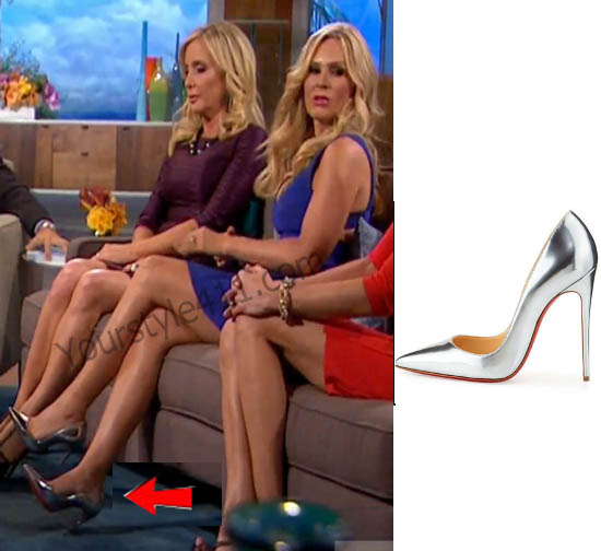 Real Housewives of Orange County, RHOC, Tamra Judge, #RHOC, #RealHousewivesOrangeCounty, Season 10, Reunion, silver heels, silver pumps, Christian Louboutin, worn on tv, tv fashion, clothes from tv shows, Real Housewives of Orange County outfits, bravo, reality tv clothes