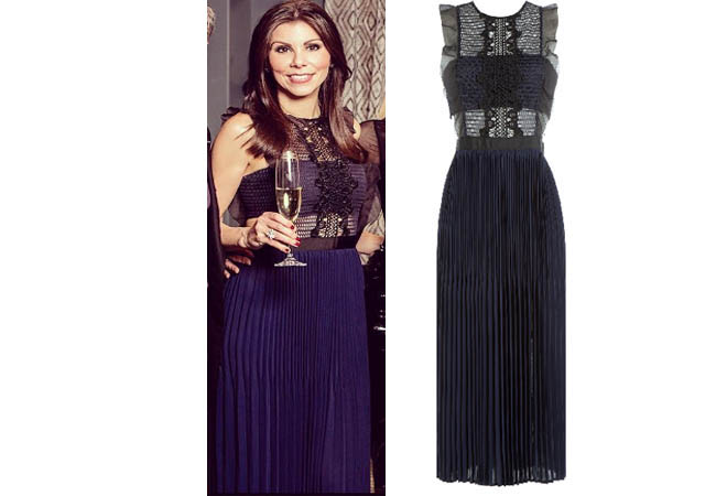 Real Housewives of Orange County, RHOC, Heather Dubrow, Kocktails with Khloe, blue and black dress, #RHOC, #RealHousewivesOrangeCounty, worn on tv, tv fashion, clothes from tv shows, Real Housewives of Orange County outfits, bravo, reality tv clothes