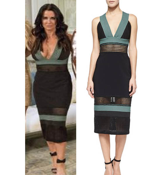 Real Housewives of Beverly Hills, Reunion, Kyle Richards, black and green dress, worn on tv, tv fashion, clothes from tv shows, RHOBH outfits, bravo, reality tv