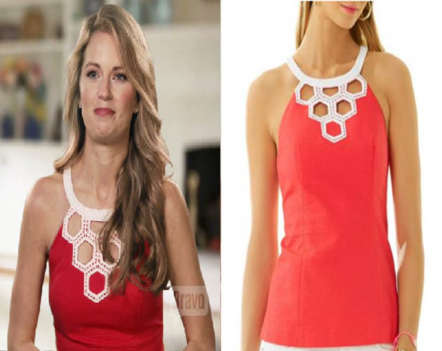 Southern Charm, Cameran Eubanks, Cameron, Camren, red top, red and white top, halter, worn on tv, #scharm, #southerncharm, lilly pulitzer, lily, tv fashion, clothes from tv shows, Southern Charm outfits, bravo, reality tv