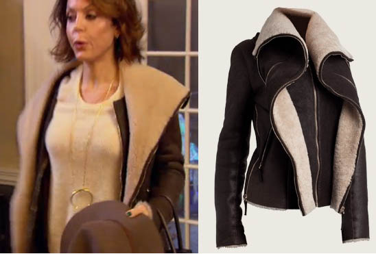 Real Housewives of New York, RHONY Season 8, Bethenny Frankel, shearling jacket, fur jacket, brown jacket, leather jacket, jerome dreyfuss, #RHONY, worn on tv, tv fashion, clothes from tv shows, RHONY outfits, bravo, reality tv