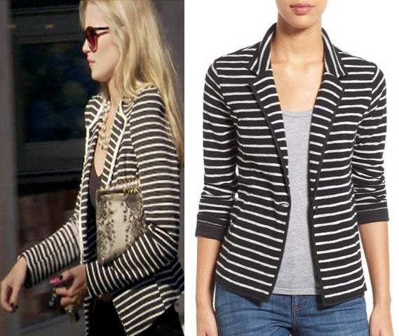 Southern Charm, Cameran Eubanks, Cameron, striped blazer, striped jacket, black and white striped jacket, worn on tv, tv fashion, clothes from tv shows, Southern Charm outfits, southern charm fashion, bravo, reality tv, season 3