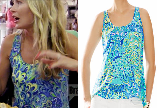 Southern Charm, Cameran Eubanks, Cameron, tank top, blue tank top, lilly pultizer, lily, worn on tv, tv fashion, clothes from tv shows, Southern Charm outfits, bravo, reality tv, season 3