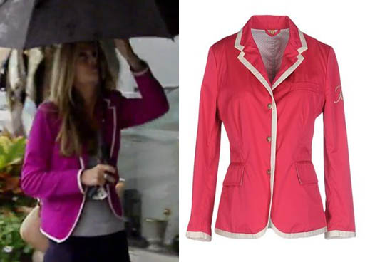 Southern Charm, Cameran Eubanks, Cameron, fushia jacket, purple jacket, pink jacket, purple jacket white trim, fushia blazer, purple blazer, worn on tv, tv fashion, clothes from tv shows, Southern Charm outfits, southern charm fashion, bravo, reality tv, season 3