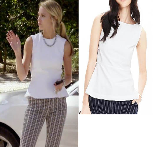 Southern Charm, Cameran Eubanks, Cameron, white top, peplum, worn on tv, tv fashion, clothes from tv shows, Southern Charm outfits, bravo, reality tv, season 3