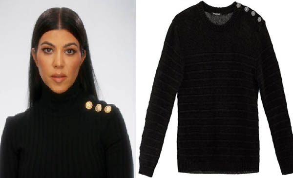 Keeping up with the Kardashians, Kourtney Kardashian, sweater, balmain, Season 12, premiere, worn on tv, tv fashion, clothes from tv shows, Keeping Up With the Kardashians outfits, eonline, reality tv, KUWTK