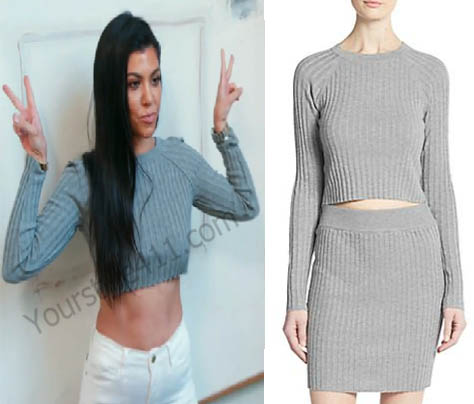 Keeping up with the Kardashians, Kourtney Kardashian, grey crop sweater, grey sweater, Season 12, worn on tv, tv fashion, clothes from tv shows, Keeping Up With the Kardashians outfits, Keeping Up With the Kardashians fashion, eonline, reality tv, KUWTK