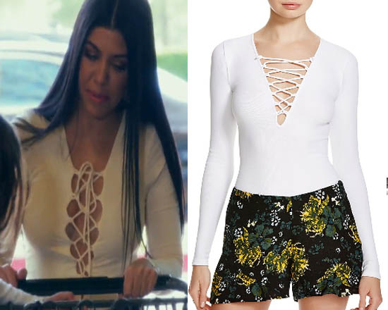 Keeping up with the Kardashians, Kourtney Kardashian, white top, white lace top, free people, Season 12, worn on tv, tv fashion, clothes from tv shows, Keeping Up With the Kardashians outfits, eonline, reality tv, KUWTK