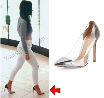 Keeping up with the Kardashians, Kourtney Kardashian, silver and clear heels, pumps, Season 12, worn on tv, tv fashion, clothes from tv shows, Keeping Up With the Kardashians outfits, Keeping Up With the Kardashians fashion, eonline, reality tv, KUWTK