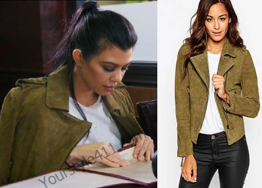 Keeping up with the Kardashians, Kourtney Kardashian, suede jacket, suede biker jacket, green jacket, moto jacket, Season 12, worn on tv, tv fashion, clothes from tv shows, Keeping Up With the Kardashians outfits, Keeping Up With the Kardashians fashion, eonline, reality tv, KUWTK