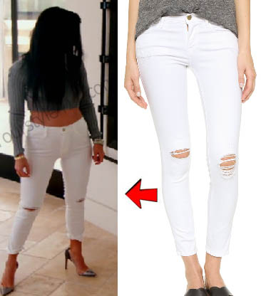 Keeping up with the Kardashians, Kourtney Kardashian, white jeans, white distressed jeans, white cut out jeans, white distressed cut out jeans, Season 12, worn on tv, tv fashion, clothes from tv shows, Keeping Up With the Kardashians outfits, Keeping Up With the Kardashians fashion, eonline, reality tv, KUWTK