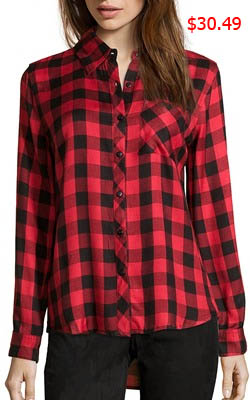 Southern Charm, Cameran Eubanks, Cameren, Cameron, red and black plaid shirt, plaid shirt, #southerncharm, #scharm, worn on tv, tv fashion, clothes from tv shows, Southern Charm outfits, bravo, reality tv, season 3