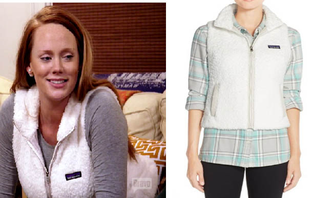 Southern Charm, white vest, fleece vest, Kathryn Dennis, Catherine Dennis, #southerncharm, #scharm, worn on tv, tv fashion, clothes from tv shows, Southern Charm outfits, bravo, reality tv, season 3