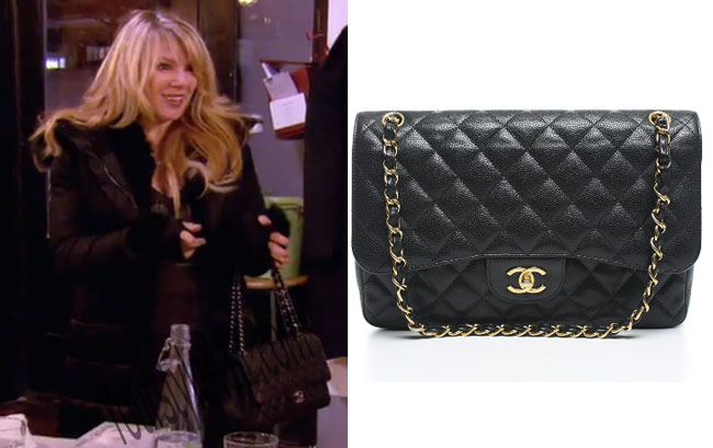 Real Housewives of New York, RHNY, Ramona Singer, Black Chanel Bag, Jumbo Chanel Cavier Bag, #RHNY, #RealHousewivesNewYork, worn on tv, tv fashion, clothes from tv shows, Real Housewives of New York outfits, bravo, reality tv clothes
