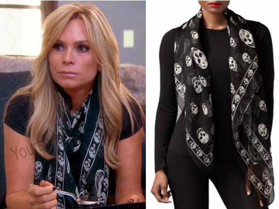 Real Housewives of Orange County, RHOC, Tamra Judge, #RHOC, #RealHousewivesOrangeCounty, Season 11, skull black scarf, worn on tv, tv fashion, clothes from tv shows, Real Housewives of Orange County outfits, bravo, reality tv clothes