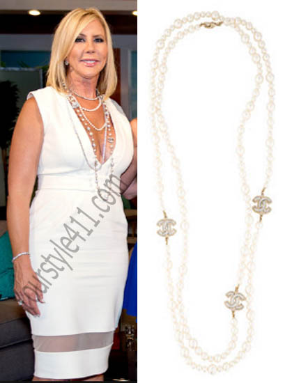 Real Housewives of Orange County, RHOC, Vickie Gunvalson, #RHOC, #RealHousewivesOrangeCounty, Season 10, Reunion, necklace, chanel, worn on tv, tv fashion, clothes from tv shows, Real Housewives of Orange County outfits, bravo, reality tv clothes