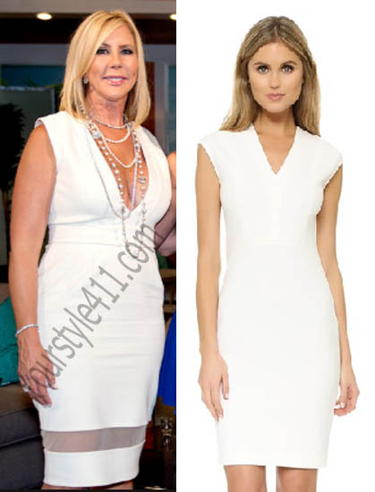 Real Housewives of Orange County, RHOC, Vickie Gunvalson, #RHOC, #RealHousewivesOrangeCounty, Season 10, Reunion, white dress, worn on tv, tv fashion, clothes from tv shows, Real Housewives of Orange County outfits, bravo, reality tv clothes