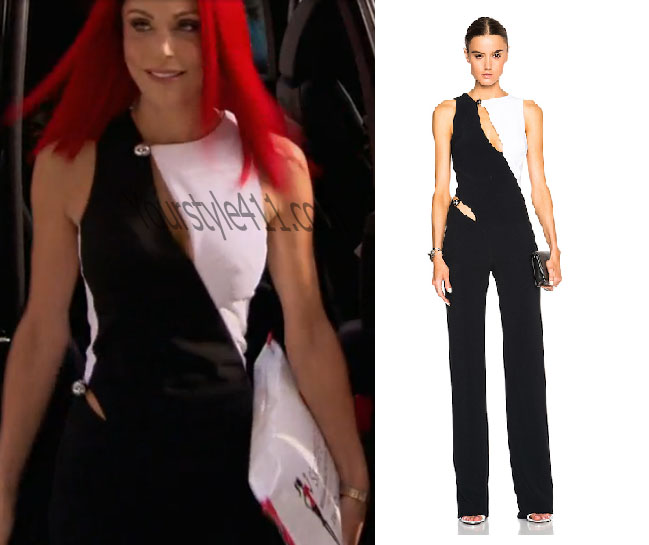 Real Housewives of New York, RHNY, Bethenny Frankel, Bethany, #RHNY, #RealHousewivesNewYork, worn on tv, tv fashion, clothes from tv shows, Real Housewives of New York outfits, Real Housewives of New York fashion, bravo, reality tv clothes, jumpsuit, black and white jumpsuit, Mugler, two-tone jumpsuit