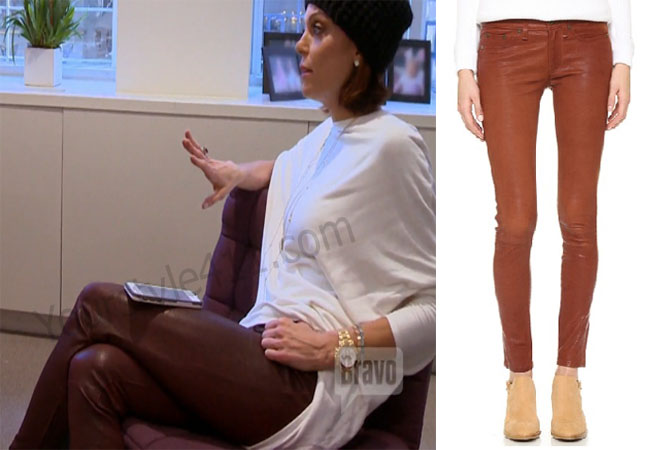 Real Housewives of New York, RHNY, Bethenny Frankel, Bethany, #RHNY, #RealHousewivesNewYork, worn on tv, tv fashion, clothes from tv shows, Real Housewives of New York outfits, Real Housewives of New York fashion, bravo, reality tv clothes, leather pants, brown pants, brown leather pants, j brand pants