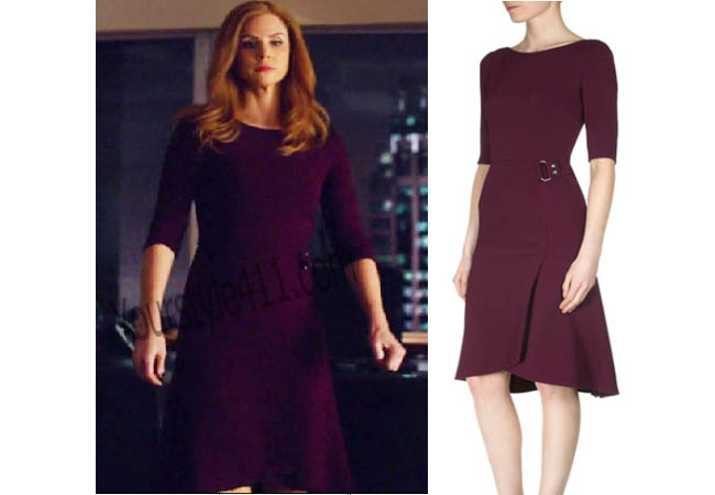 Suits, #Suits, Donna, Burgundy dress, Maroon dress, red dress, worn on tv, tv fashion, clothes from tv shows, Real Housewives of Orange County outfits, bravo, reality tv clothes, usanetwork