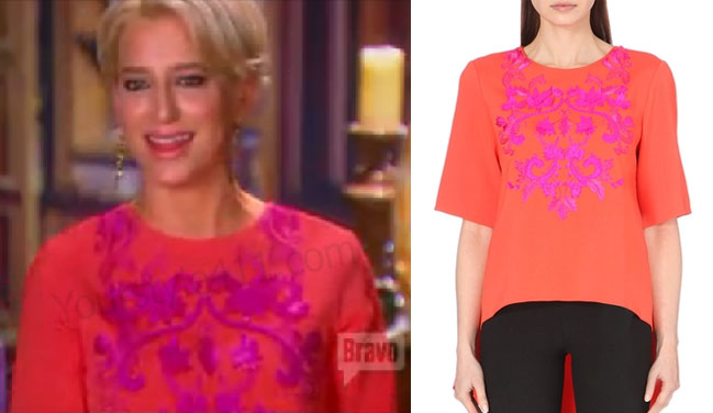 Real Housewives of New York, RHNY, Dorinda Medley, Orange Top, Coral Top, Orange and Pink Top, Oscar De La Renta, #RHNY, #RealHousewivesNewYork, worn on tv, tv fashion, clothes from tv shows, Real Housewives of New York outfits, Real Housewives of New York fashion, bravo, reality tv clothes