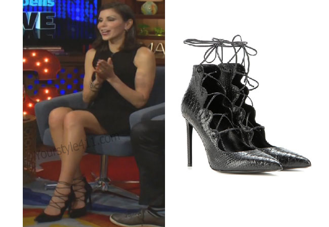 Real Housewives of Orange County, RHOC, Heather Dubrow, black tie heels, black sandals,embossed leather sandals, saint laurent tie sandals, #RHOC, #RealHousewivesOrangeCounty, worn on tv, tv fashion, clothes from tv shows, Real Housewives of Orange County outfits, bravo, reality tv clothes