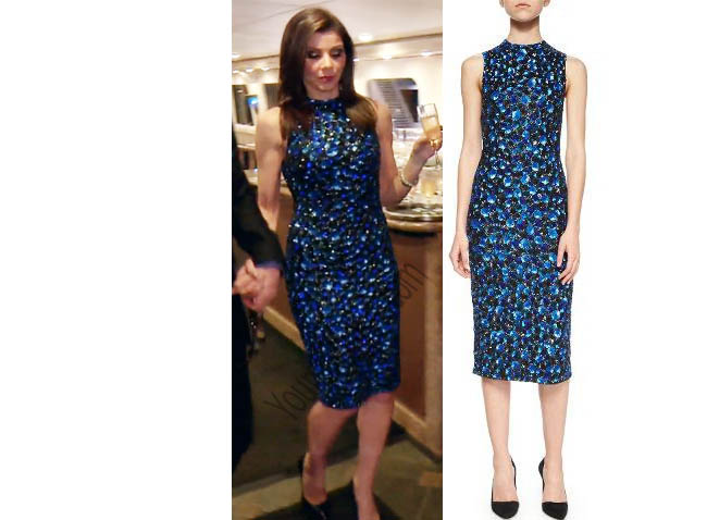 Real Housewives of Orange County, RHOC, Heather Dubrow, blue dress, boat party dress, Ivana Beaded Midi Dress, #RHOC, #RealHousewivesOrangeCounty, worn on tv, tv fashion, clothes from tv shows, Real Housewives of Orange County outfits, bravo, reality tv clothes