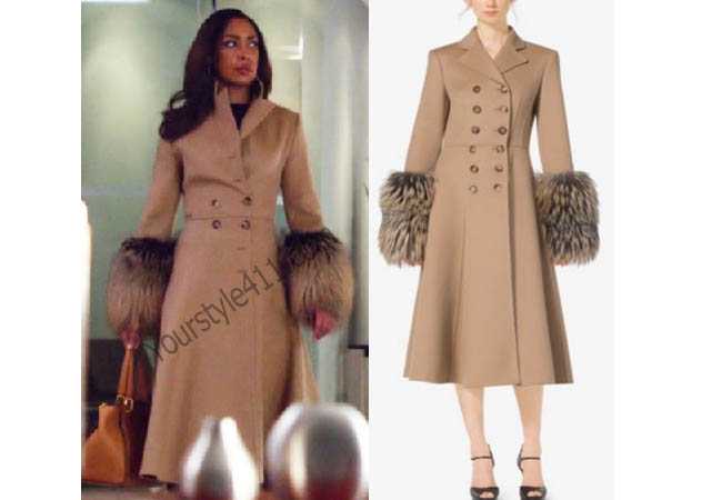 Suits, #Suits, Jessica Pearson, Gina Torres, Camel Coat, Fawn, Coat with Fur Cuff, Coat With Fur Sleeves, worn on tv, tv fashion, clothes from tv shows, Suits outfits, bravo, reality tv clothes, usanetwork