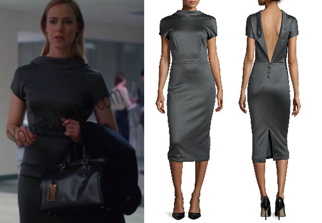 Suits, #Suits, Katherine, Catherine, grey dress, sheath dress, shiny grey dress, worn on tv, tv fashion, clothes from tv shows, Suits outfits, Suits fashion, bravo, reality tv clothes, usanetwork