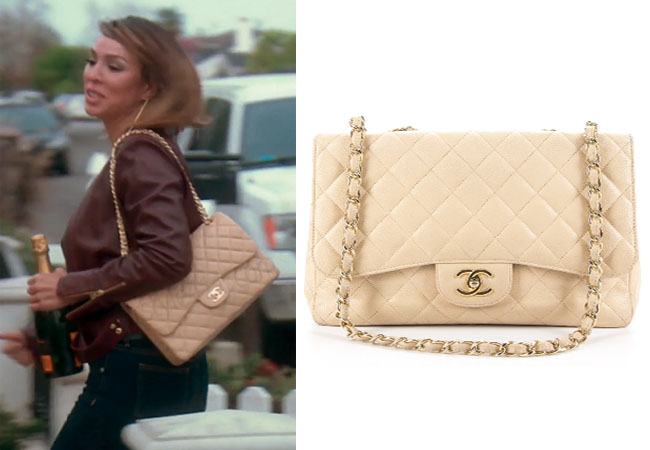 Real Housewives of Orange County, RHOC, Kelly Dodd, Chanel bag, Beige Jumbo Purse, #RHOC, #RealHousewivesOrangeCounty, worn on tv, tv fashion, clothes from tv shows, Real Housewives of Orange County outfits, bravo, reality tv clothes