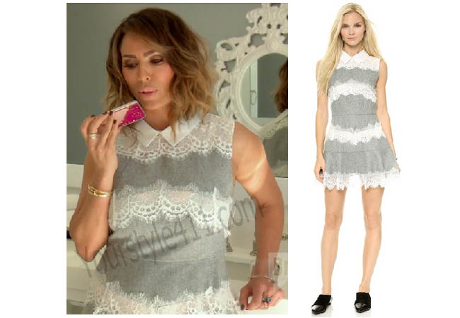 Real Housewives of Orange County, RHOC, Kelly Dodd, grey and white dress, grey and white lace dress, Kelli, #RHOC, #RealHousewivesOrangeCounty, worn on tv, tv fashion, clothes from tv shows, Real Housewives of Orange County outfits, bravo, reality tv clothes