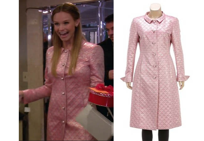 Real Housewives of Orange County, RHOC, Meghan Edmonds, Megan Edmonds, pink coat, pink brocade coat, pink Escada coat, pink metallic coat, #RHOC, #RealHousewivesOrangeCounty, worn on tv, tv fashion, clothes from tv shows, Real Housewives of Orange County outfits, bravo, reality tv clothes