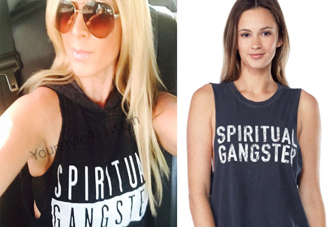 Real Housewives of Orange County, RHOC, Tamra Judge, black tank top, spiritual gangster, #RHOC, #RealHousewivesOrangeCounty, worn on tv, tv fashion, clothes from tv shows, Real Housewives of Orange County outfits, bravo, reality tv clothes