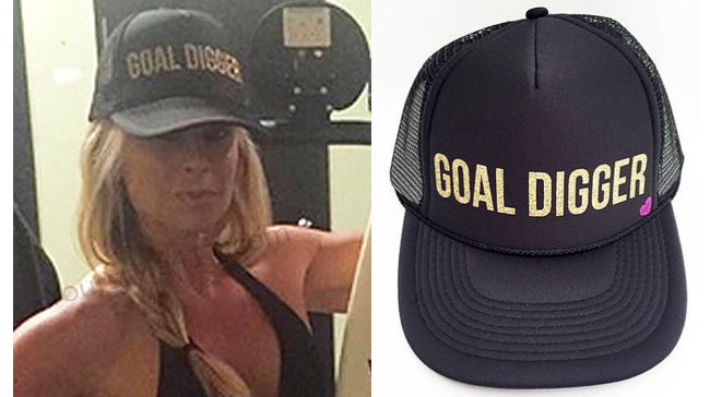 Real Housewives of Orange County, RHOC, Tamra Judge, trucker hat, black trucker hat, goal digger hat, #RHOC, #RealHousewivesOrangeCounty, worn on tv, tv fashion, clothes from tv shows, Real Housewives of Orange County outfits, bravo, reality tv clothes