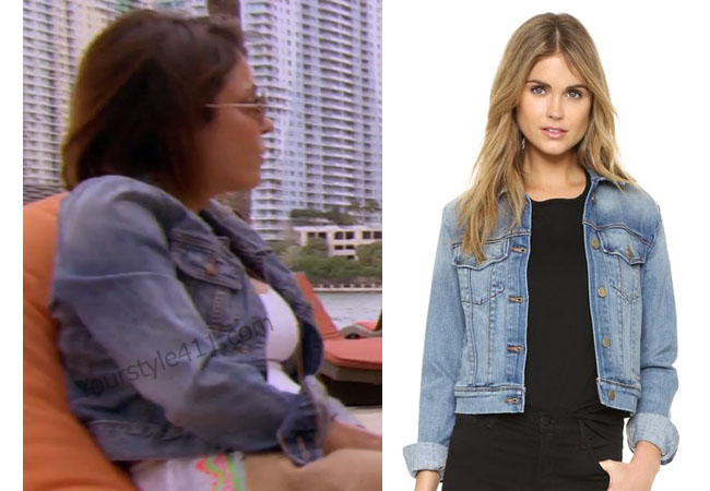 Real Housewives of New York, RHNY, Bethenny Frankel, jean jacket, blue jacket, #RHNY, #RealHousewivesNewYork, worn on tv, Bethenny Frankel outfit, tv fashion, clothes from tv shows, Real Housewives of New York outfits, bravo, reality tv clothes