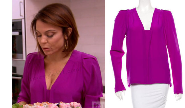 Real Housewives of New York, RHNY, Bethenny Frankel, Bethenny Frankel outfit, #RHONY, purple blouse, magenta blouse, stella mccartney blouse, #RHNY, #RealHousewivesNewYork, season 8, worn on tv, tv fashion, clothes from tv shows, Real Housewives of New York outfits, bravo, reality tv clothes