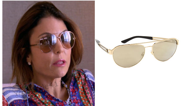 Real Housewives of New York, RHNY, Bethenny Frankel, Bethenny Frankel outfit, Aviator Sunglasses, Gold Sunglasses, gold aviator sunglasses, versace sunglasses, versace gold aviator sunglasses, #RHNY, #RealHousewivesNewYork, worn on tv, tv fashion, clothes from tv shows, Real Housewives of New York outfits, bravo, reality tv clothes