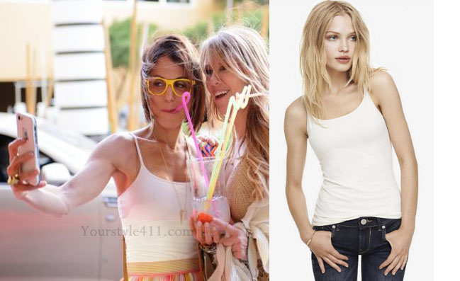 Real Housewives of New York, RHNY, RHONY, Bethenny Frankel, Bethenny Frankel outfit, Bethenny Frankel style, #RHONY, white tank, white tank top, Express best loved cami, white cami, #RHNY, #RealHousewivesNewYork, worn on tv, tv fashion, clothes from tv shows, Real Housewives of New York outfits, bravo, reality tv clothes