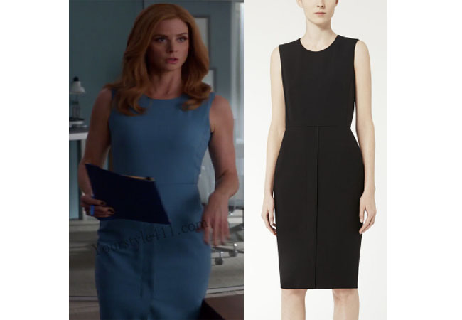 Suits, worn on tv, tv fashion, clothes from tv shows, Suits outfits, Suits fashion, usa network, law firm clothes, Donna Paulson, Sarah Rafferty, blue sheath dress, blue dress
