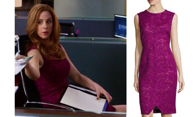 Suits, worn on tv, tv fashion, clothes from tv shows, Suits outfits, Suits fashion, usa network, law firm clothes, Donna Paulson, Sarah Rafferty, magenta dress, berry dress, lace dress, sleeveless burgundy dress, #suits