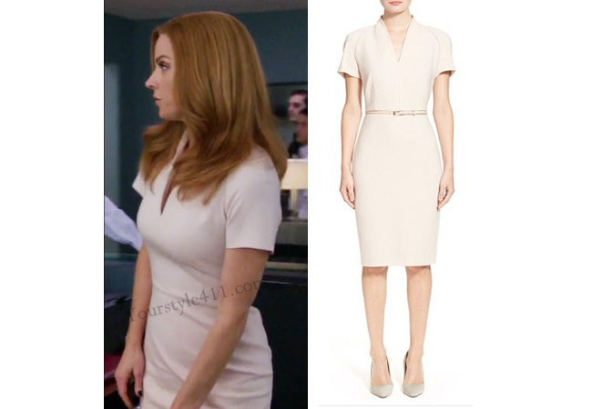 Suits, worn on tv, tv fashion, clothes from tv shows, Suits outfits, Suits fashion, usa network, law firm clothes, Donna Paulson, light pink dress, pink sheath dress, pink v-neck dress, Sarah Rafferty, #suits