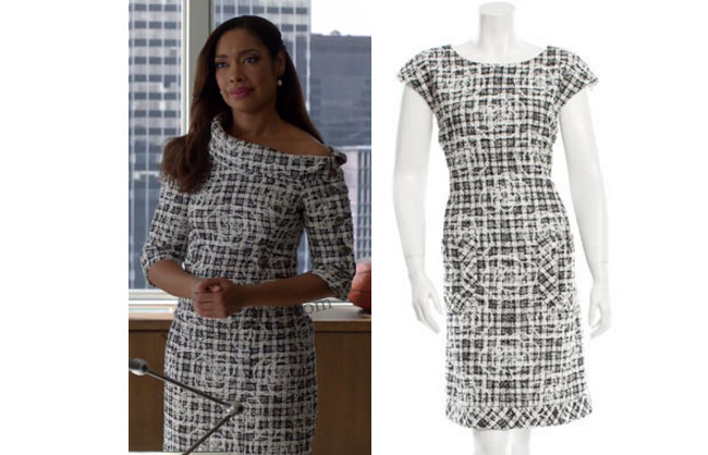 Suits, worn on tv, tv fashion, clothes from tv shows, Suits outfits, Suits fashion, usa network, law firm clothes, Jessica Pearson, black and white checkered dress, chanel dress, black and white dress, #suits