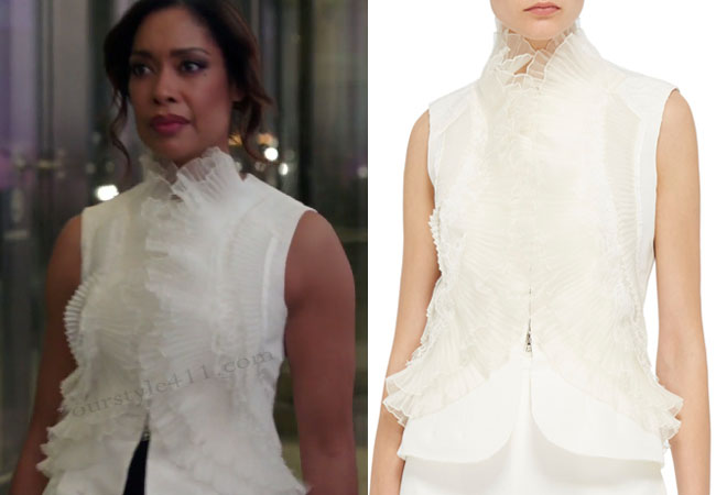 Suits, worn on tv, tv fashion, clothes from tv shows, Suits outfits, Suits fashion, usa network, law firm clothes, Jessica Pearson, Gina Torres, ruffle top, #suits, white top
