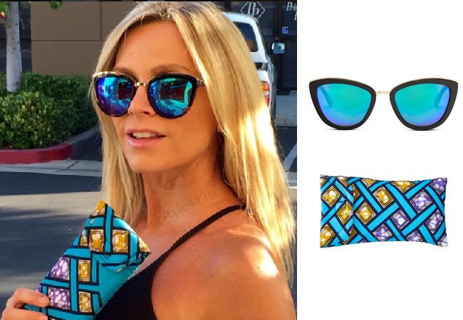 Real Housewives of Orange County, RHOC, Tamra Judge, blue sunglasses, blue cat eye sunglasses, blue lens, diff eyewear, #RHOC, Tamra Judge outfit, #RealHousewivesOrangeCounty, worn on tv, tv fashion, clothes from tv shows, Real Housewives of Orange County outfits, bravo, reality tv clothes