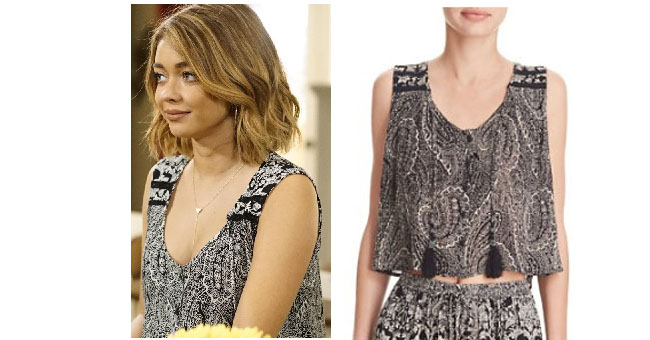 Modern Family, worn on tv, shop your tv, steal her style, the take, tv fashion, clothes from tv shows, Modern Family outfits, Modern Family fashion, Season 8, ABC shows, abc. Haley Dunphy, Sarah Hyland, black and white tank, paisley button up tank top
