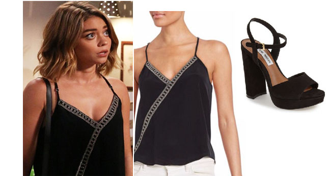 Modern Family, worn on tv, shop your tv, steal her style, the take, tv fashion, clothes from tv shows, Modern Family outfits, Modern Family fashion, Season 8, ABC shows, abc.go.com, Haley Dunphy, Sarah Hyland, black tank top, black camisole, black silver tank, black sandals, black purse
