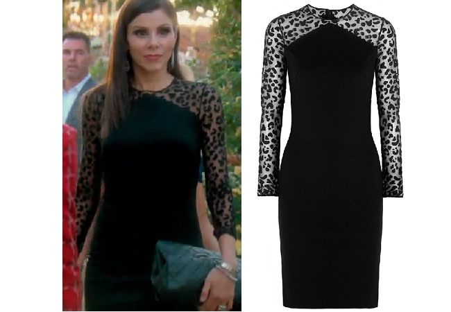 Real Housewives of Orange County, RHOC, Heather Dubrow, Heather Dubrow style, Heather Dubrow fashion, #heatherdubrow, leopard sleeve dress, black long sleeve dress, longsleeve dress, stella mccartney devore dress, #RHOC, Heather Dubrow outfit, #RealHousewivesOrangeCounty, worn on tv, tv fashion, clothes from tv shows, Real Housewives of Orange County outfits, bravo, Season 11, reality tv clothes
