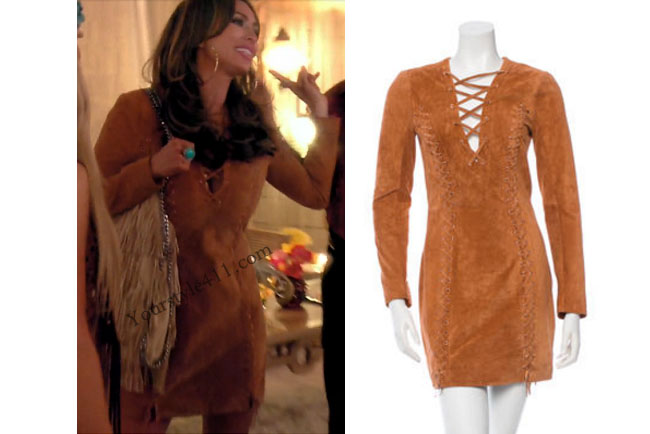 Real Housewives of Orange County, RHOC, Kelly Dodd, Kelly Dodd style, Kelly Dodd fashion, #kellydodd, brown dress, brown suede dress, brown tie dress, #RHOC, Kelly Dodd outfit, #RealHousewivesOrangeCounty, worn on tv, tv fashion, clothes from tv shows, Real Housewives of Orange County outfits, bravo, Season 11, reality tv clothes
